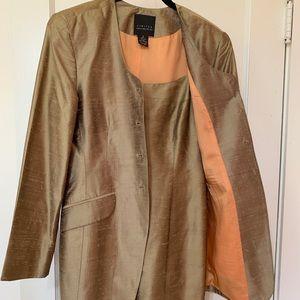 Silk spaghetti strap dress matching jacket